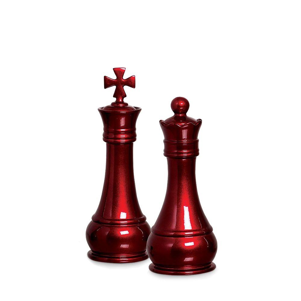 Peça Xadrez Rei E Rainha Decoração Em Cerâmica Vinho Scarlet