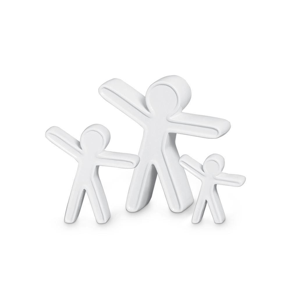 Trio Bonecos Família Decoração Em Cerâmica Clássica Branca