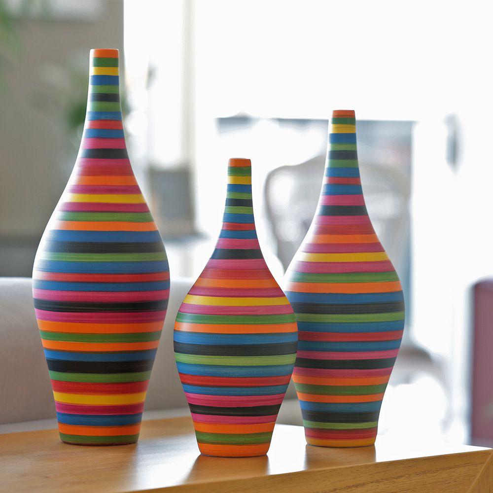 Trio Decorativo Garrafa Styllo Decoração Cerâmica Colors