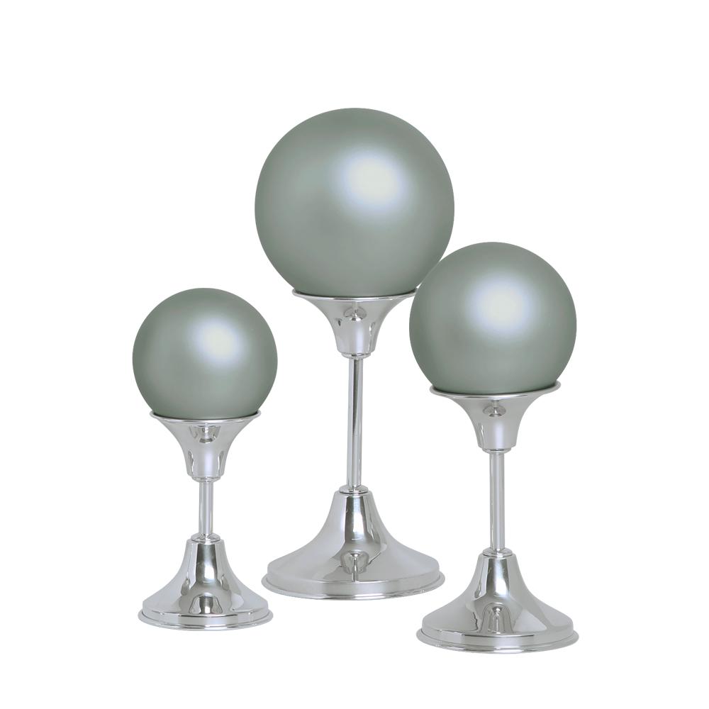 Esferas Com Pedestal Alumínio Decoração Cerâmica Cinza Fosco