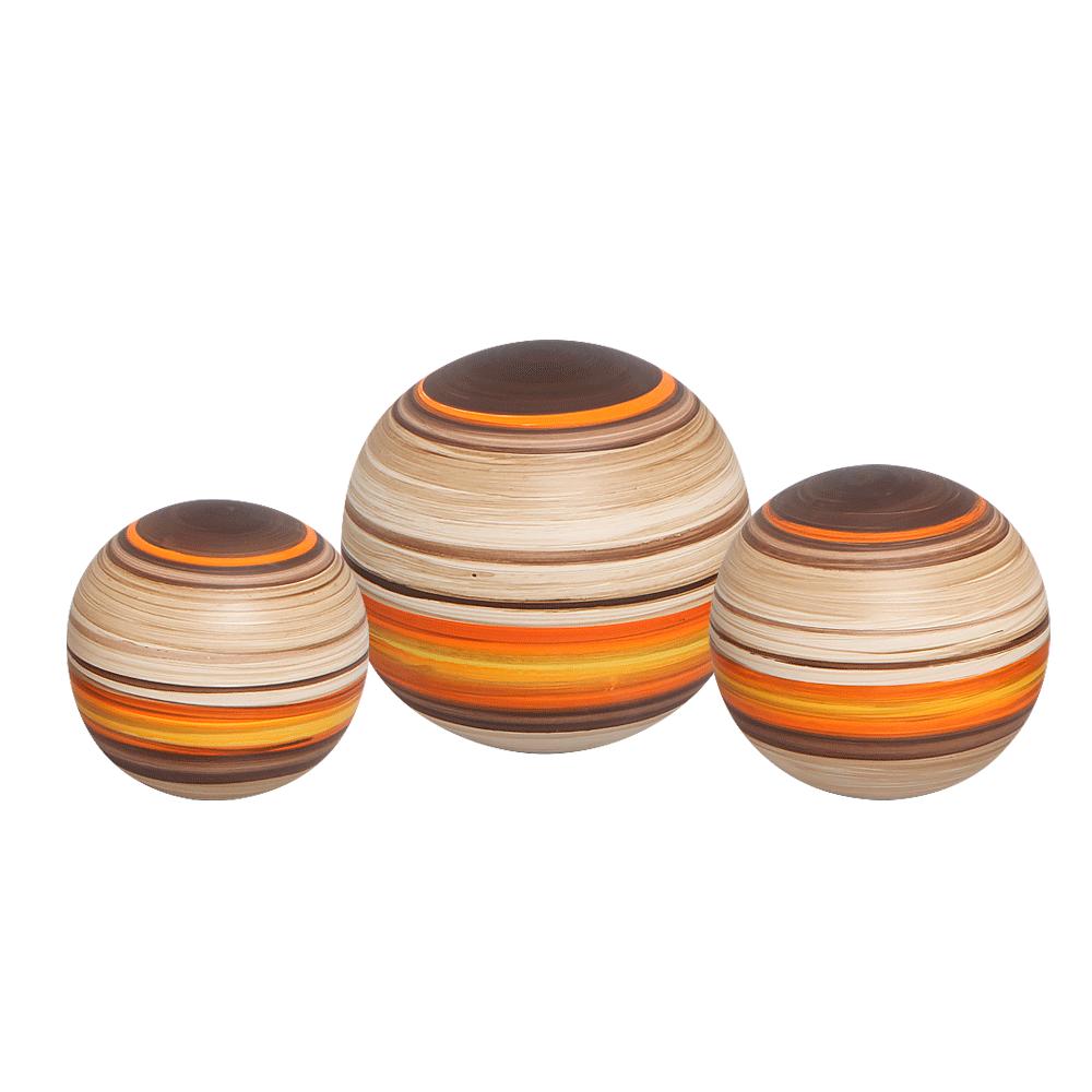 Trio Esferas Decorativas Em Cerâmica New Sunset