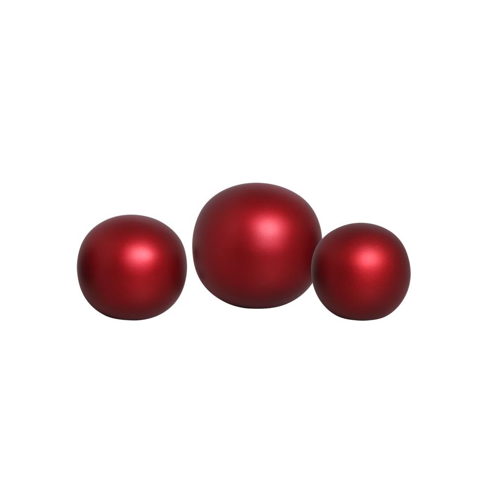 Trio Esferas Decorativas em Cerâmica Vinho Sensation