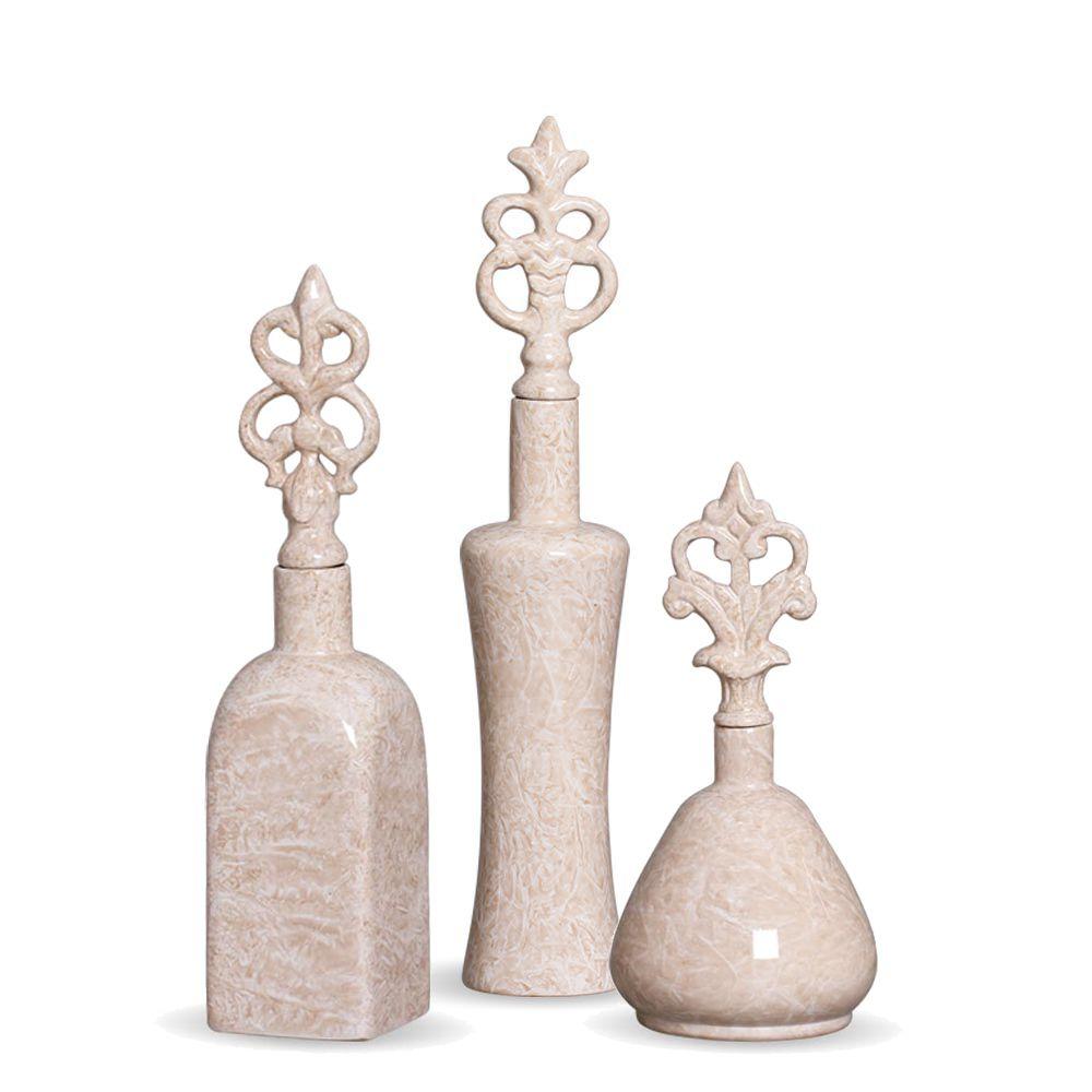 Trio Garrafa Lins Decoração Em Cerâmica Bege Marmorizado Petra