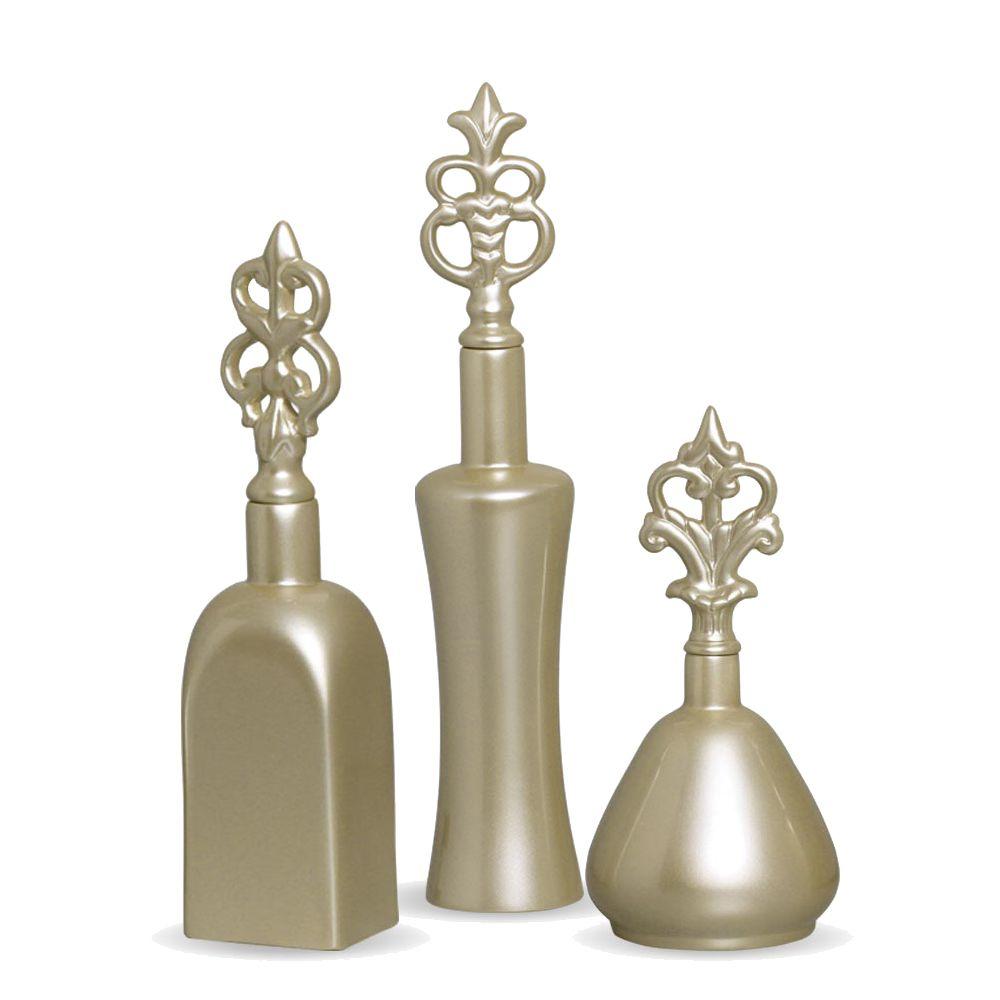 Trio Garrafa Lins Decoração Em Cerâmica Fendi Chrome