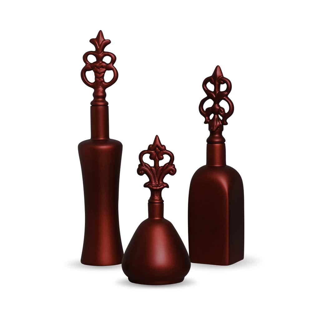 Trio Garrafa Lins Decoração Em Cerâmica Vinho Sensation
