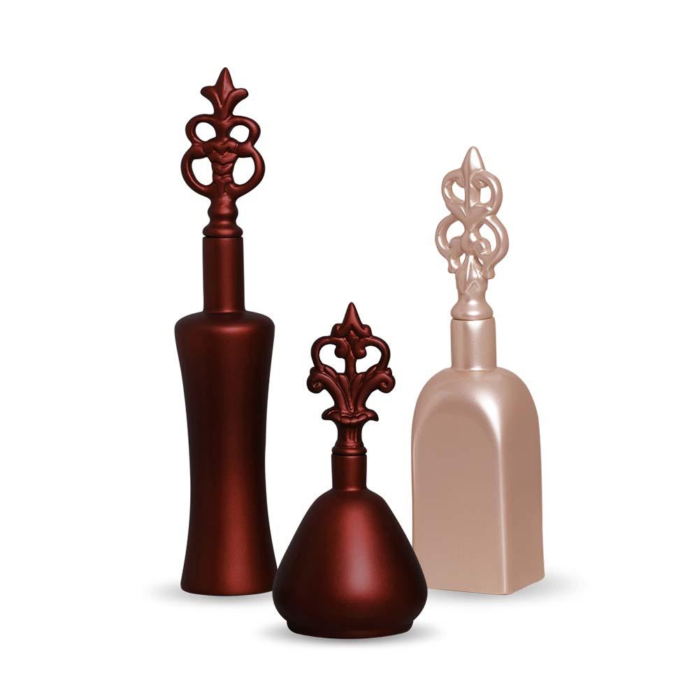 Trio Garrafa Lins Decoração Em Cerâmica Sensation E Rose