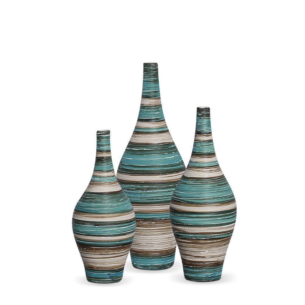 Trio Garrafa Styllo Decoração em Cerâmica Azul e Palha Marrakesh