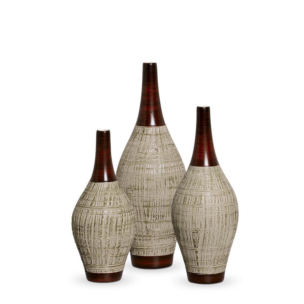 Trio Garrafa Styllo Decoração Em Cerâmica Marrom E Palha Ganash