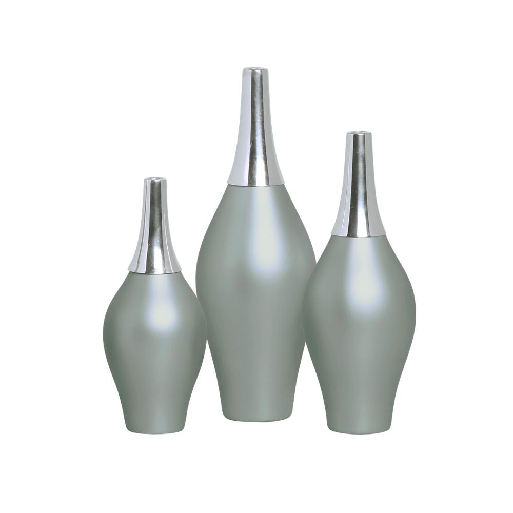 Trio Garrafa Styllo Com Alumínio Decoração Cerâmica Cinza Fosco