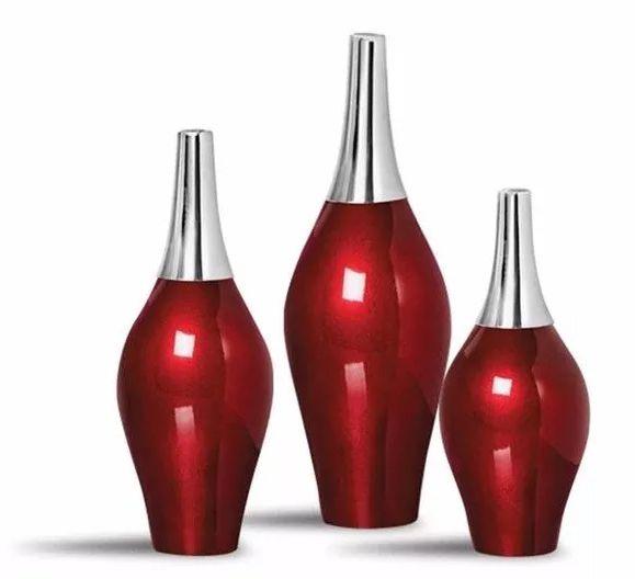 Trio Garrafa Styllo Decoração Em Cerâmica Vinho Scarlet