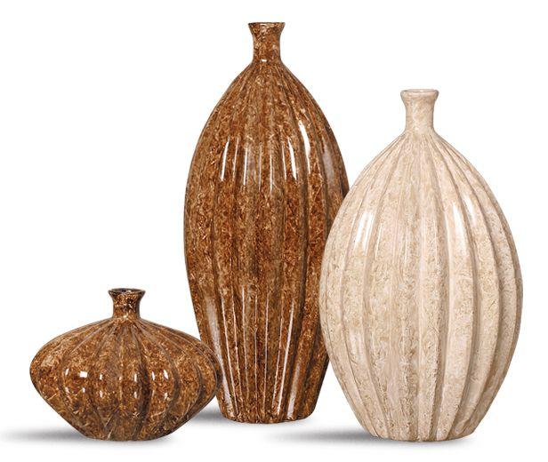Trio Garrafa Viena Decoração Em Cerâmica Marrom E Bege Petra