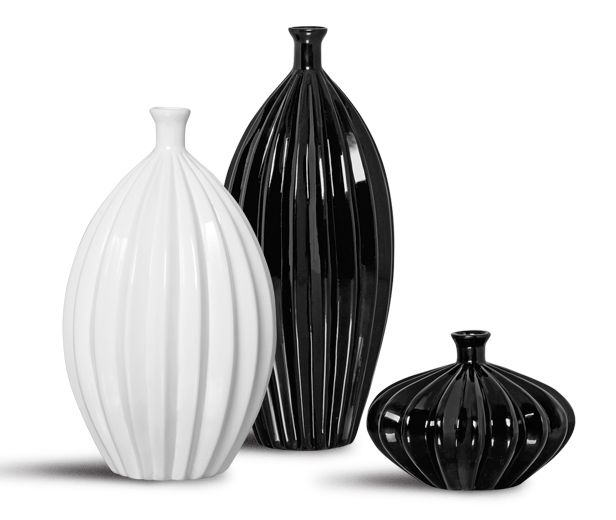 Trio Garrafa Viena Decoração Em Cerâmica Clássica Preta e Branca