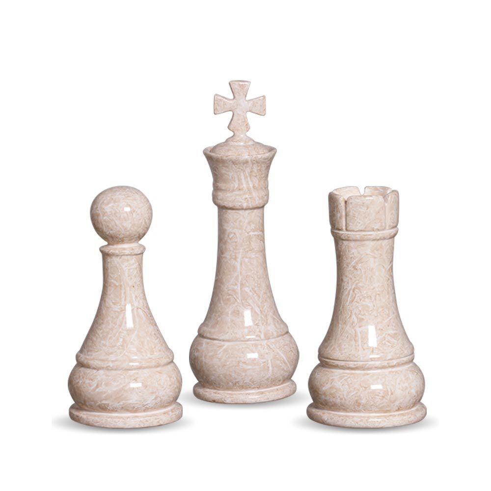 Trio Peças De Xadrez Rei, Torre E Peão Decoração Em Cerâmica Bege Petra