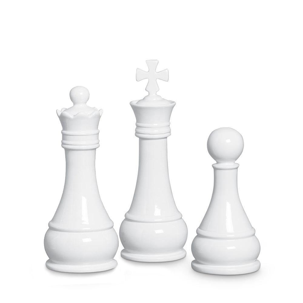 Trio Peças De Xadrez Rei Rainha Peão Decoração Cerâmica Branca