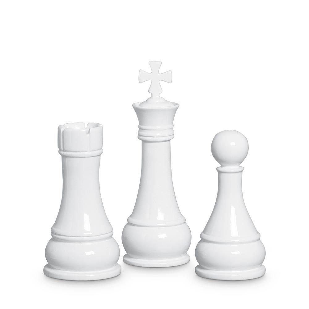 Trio Peças De Xadrez Rei Torre Peão Cerâmica Clássica Branca