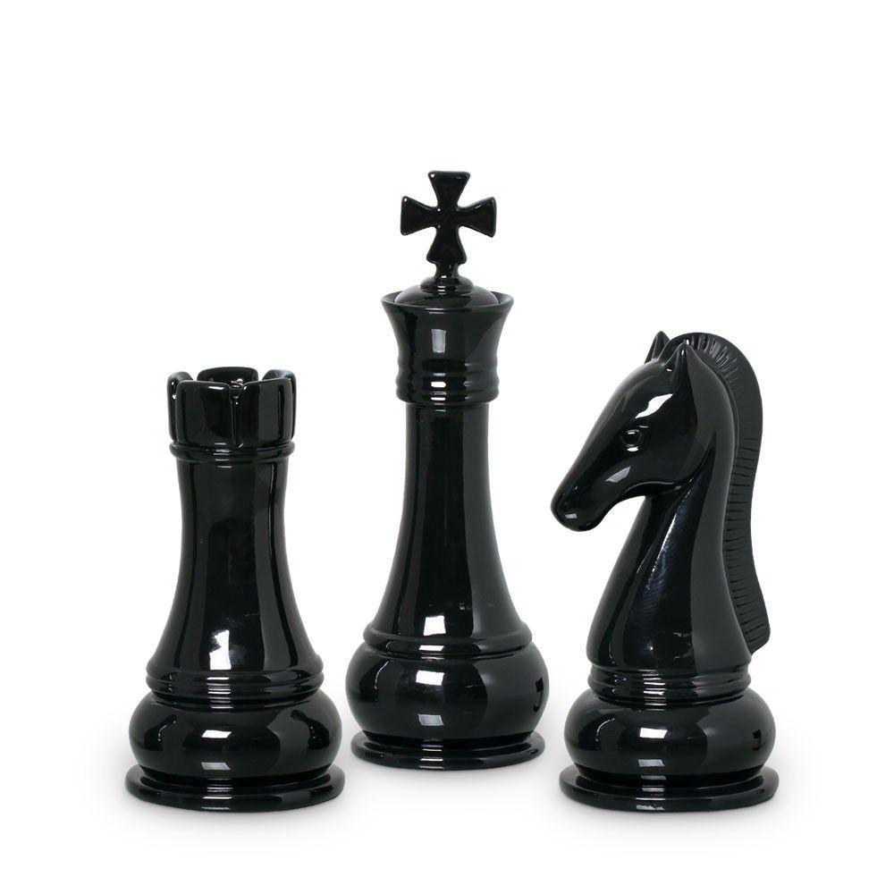 Trio Peças De Xadrez Rei, Torre E Cavalo Preto Clássica Preta