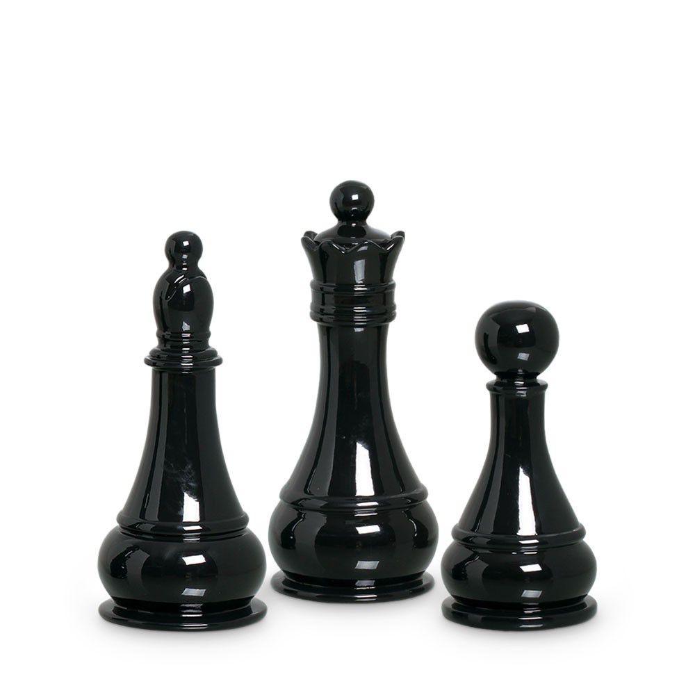 Trio Peças De Xadrez Preto