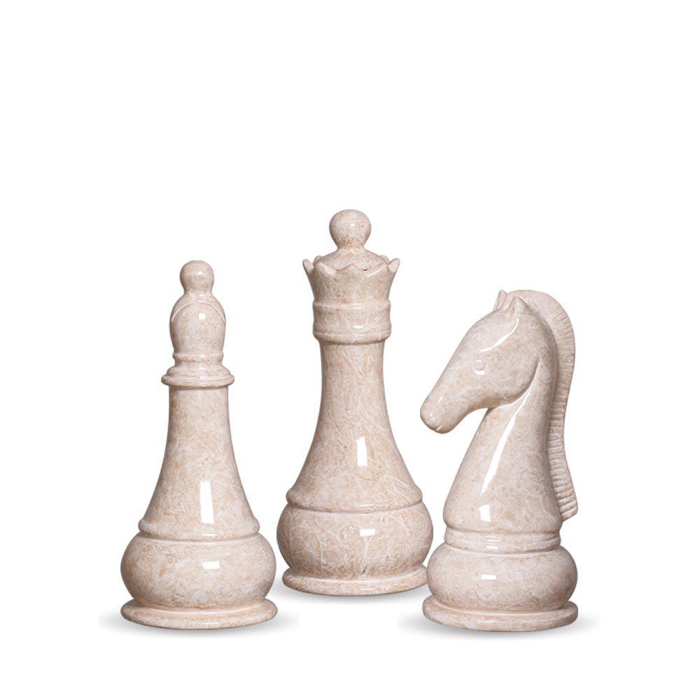 Trio Peças De Xadrez Rainha, Bispo E Cavalo Bege Petra