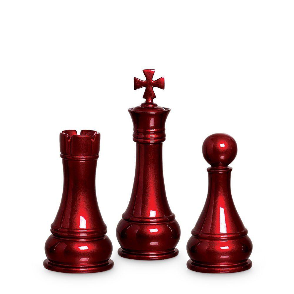 Trio Peças De Xadrez Rei Torre Peão Cerâmica Vinho Scarlet
