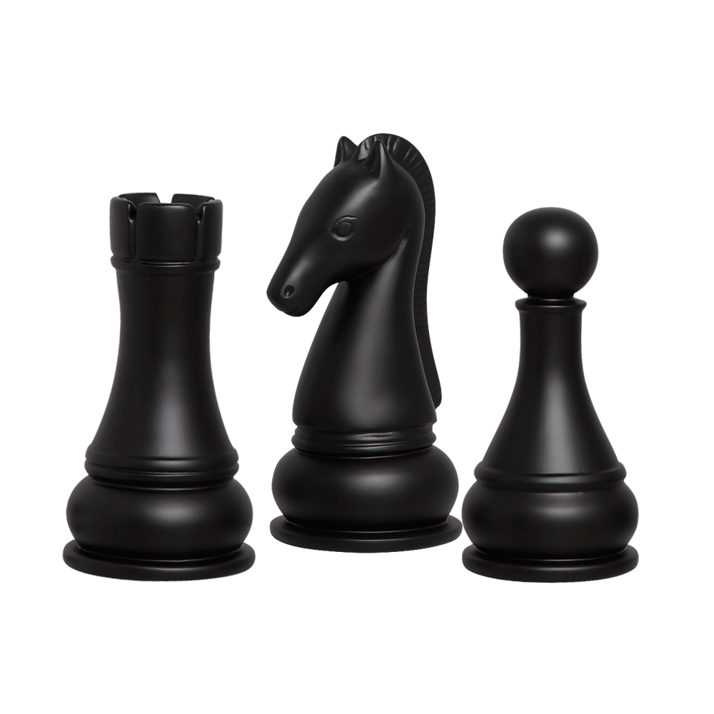 Peças Xadrez Cavalo Torre Peão Trio Cerâmica Preto Fosco