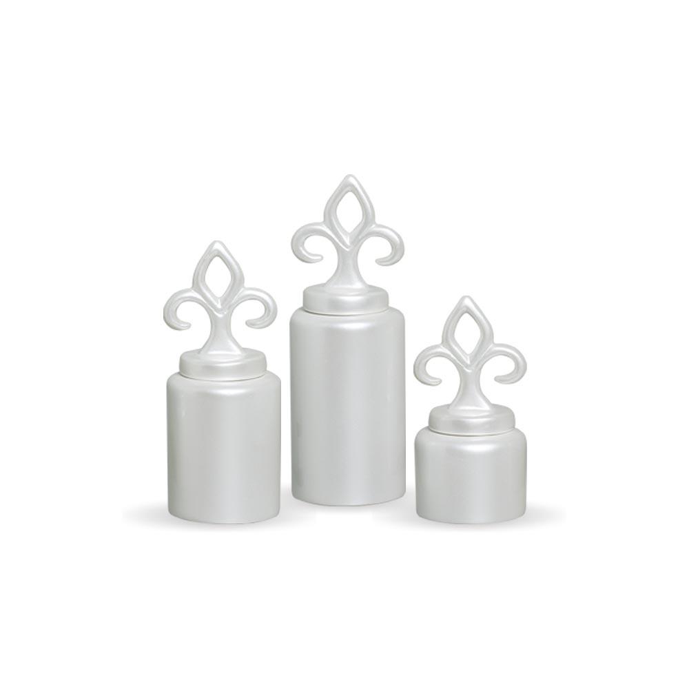Trio Pote Flor De Liz Decoração Em Cerâmica Pérola