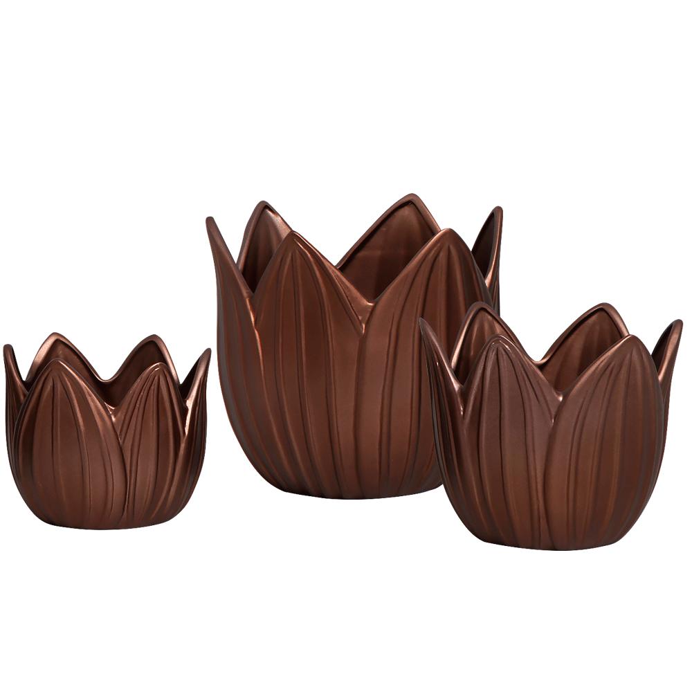 Vaso Cachepot Folha Trio Enfeite Decoração em Cerâmica Café