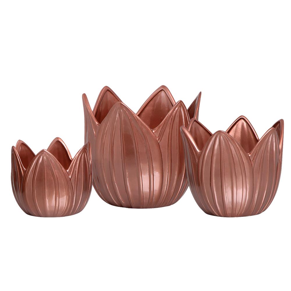 Trio Vaso Cachepot Folha Enfeite em Cerâmica Rosé Gold