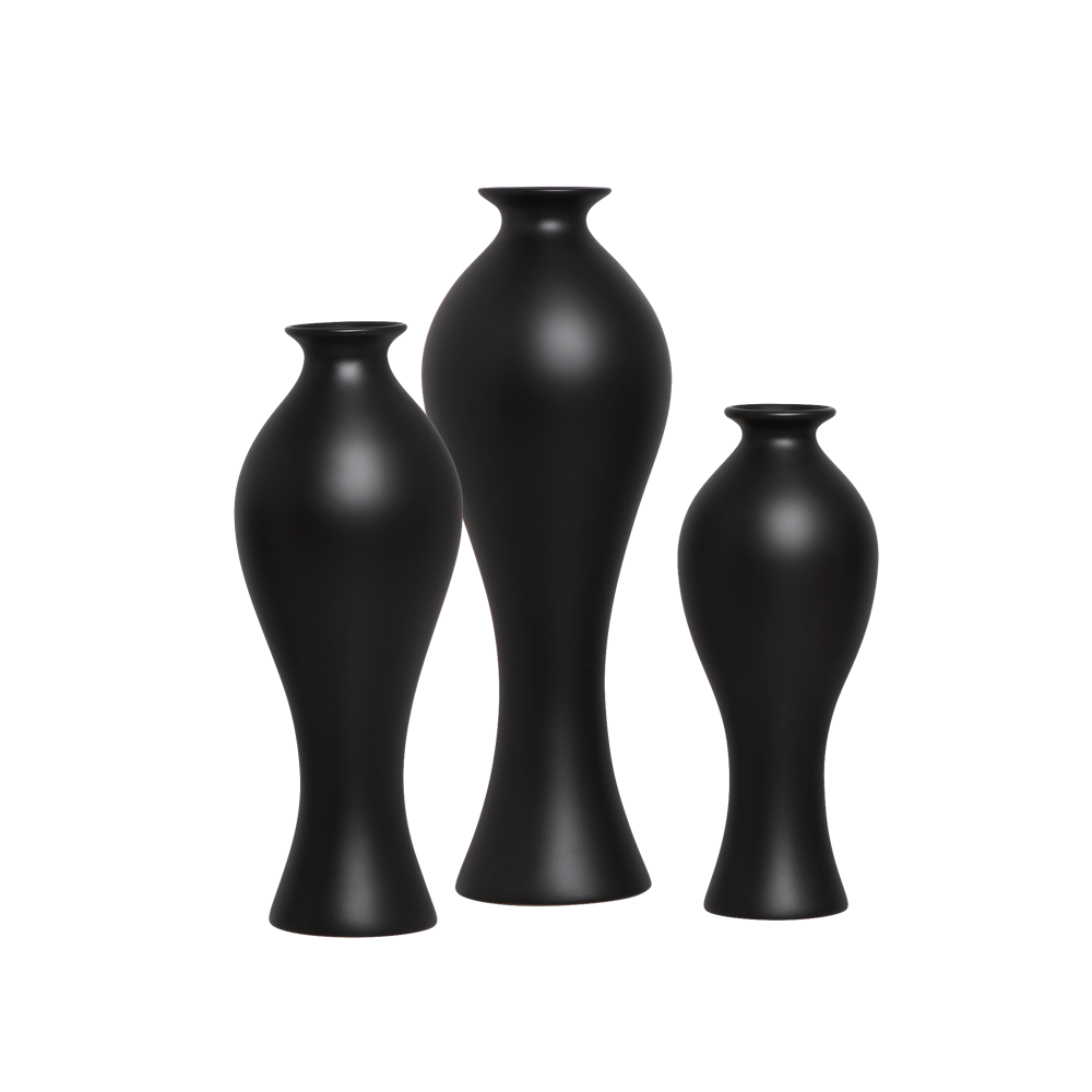 Vaso Califórnia Trio Enfeite Decoração Cerâmica Preto Fosco