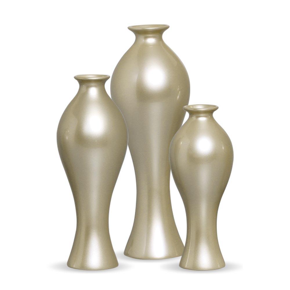 Trio Vaso Califórnia Decoração Em Cerâmica Fendi Chrome