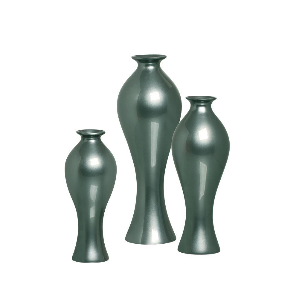 Trio Vaso Califórnia Decoração Em Cerâmica Verde Perolado