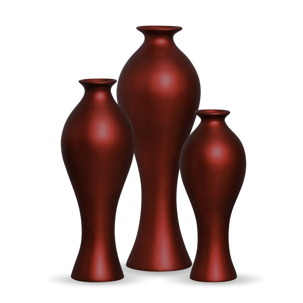 Trio Vaso Califórnia Decoração em Cerâmica Vinho Sensation