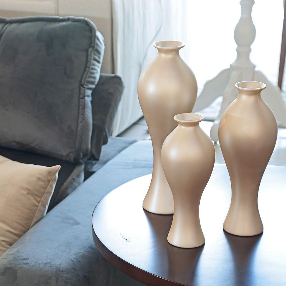 Vaso Decorativo Califórnia Trio Enfeite Cerâmica Creme