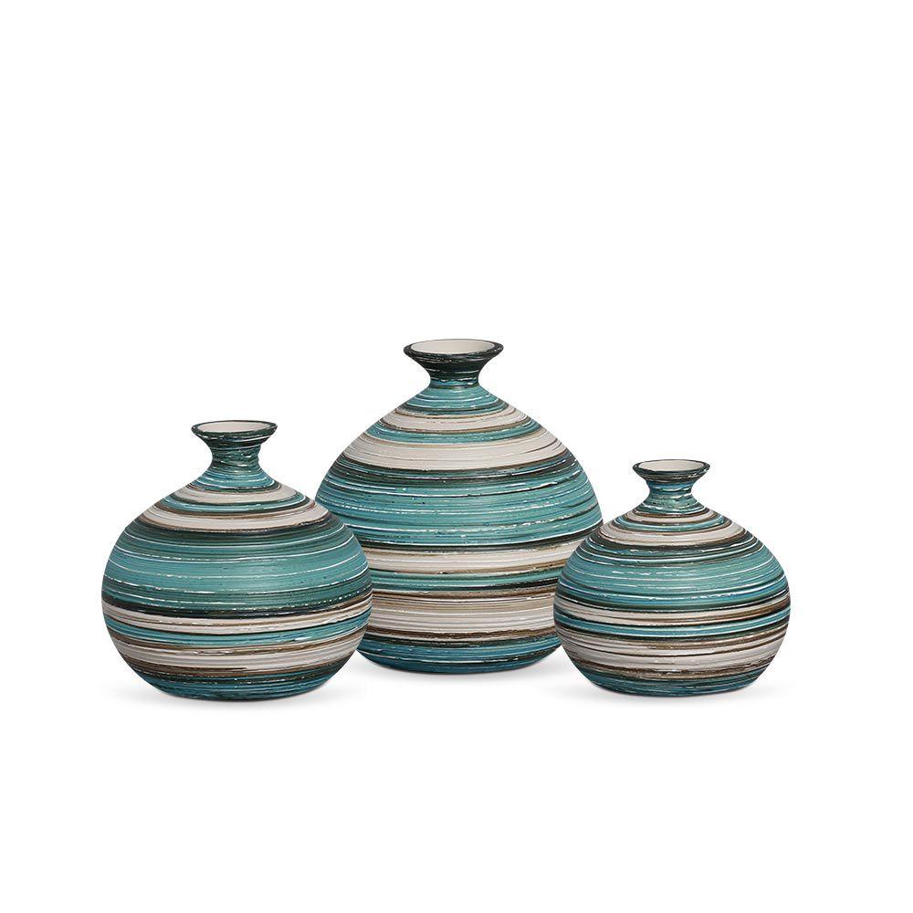 Trio Vaso Maia Decoração Em Cerâmica Azul e Palha Marrakesh