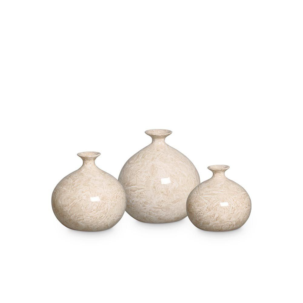 Trio Vaso Maia Decoração Em Cerâmica Bege Petra