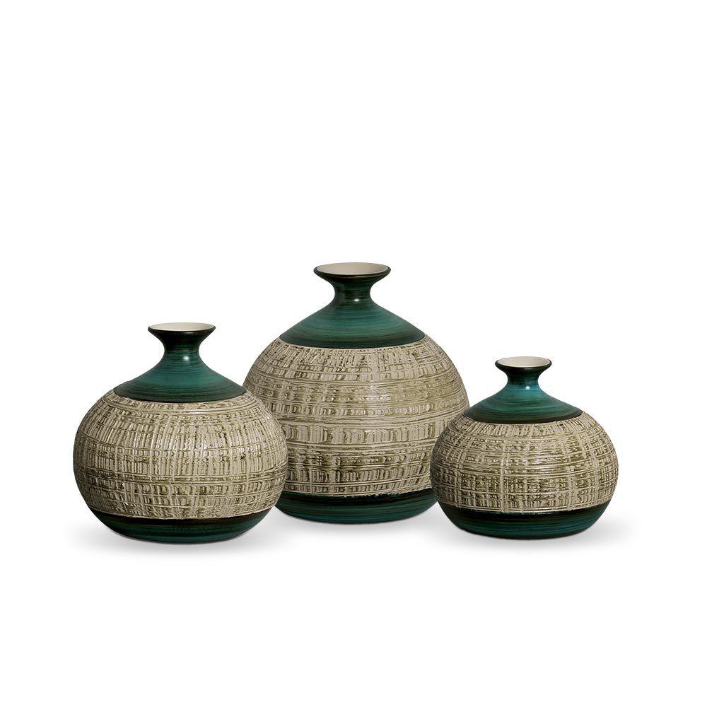 Trio Vaso Maia Decoração Em Cerâmica Verde E Palha