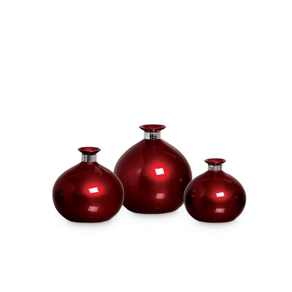 Trio Vaso Maia Decoração Em Cerâmica Vinho Scarlet