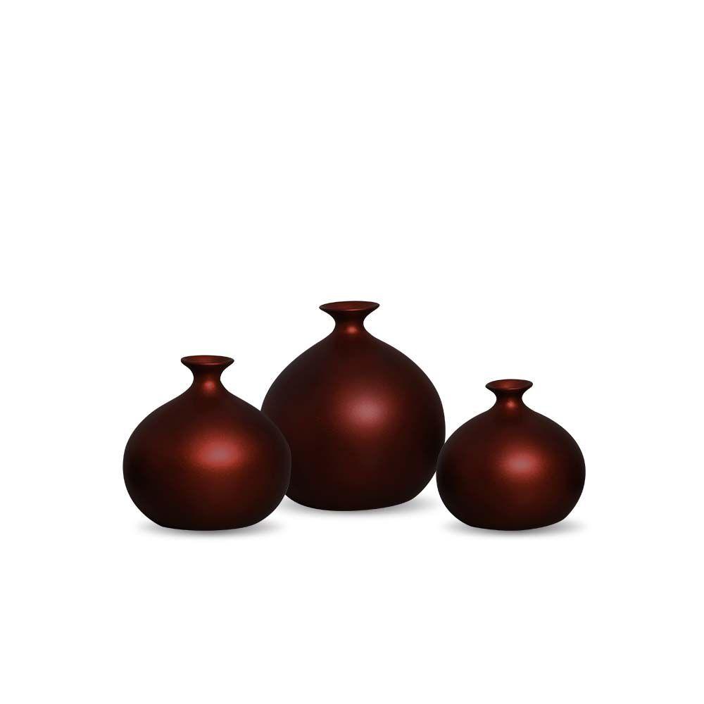 Trio Vaso Maia Decoração Em Cerâmica Vinho Sensation