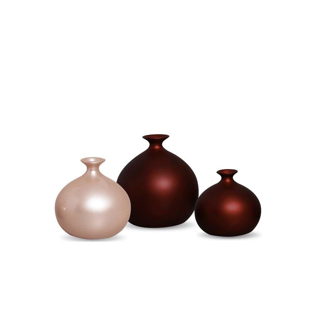 Trio Vaso Maia Decoração Em Cerâmica Sensation E Rose