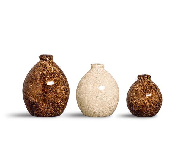 Trio Vaso Oasis Decoração Em Cerâmica Marrom E Bege Petra