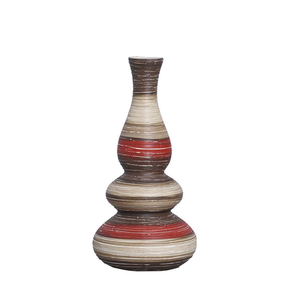 Vaso Antares G Decoração Cerâmica Vermelho e Marrom Terracota