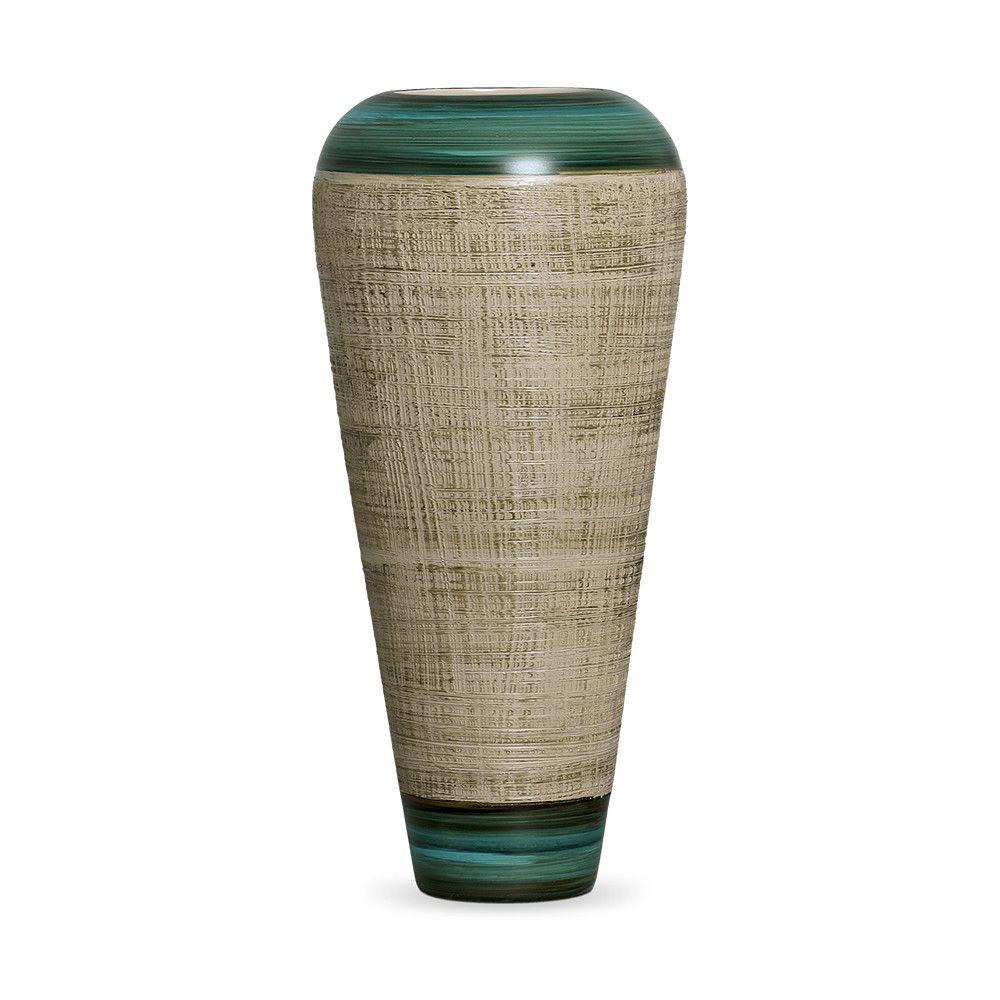 Vaso Atlanta G Decoração Em Cerâmica Verde E Palha Dubai