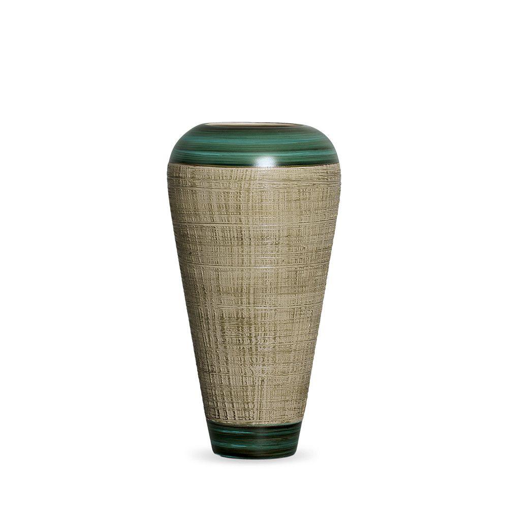 Vaso Atlanta M Decoração Em Cerâmica Verde E Palha Dubai