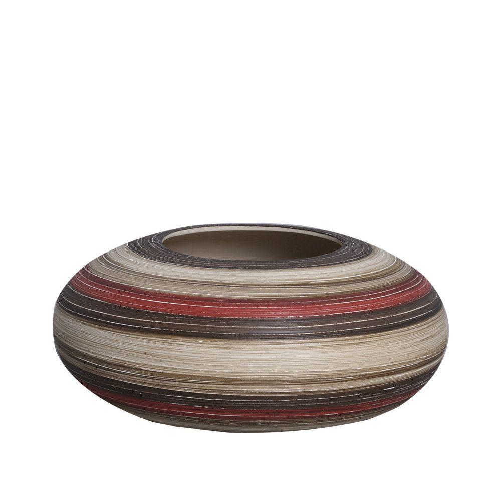 Vaso Atlanta P Decoração Cerâmica Vermelho e Marrom Terracota