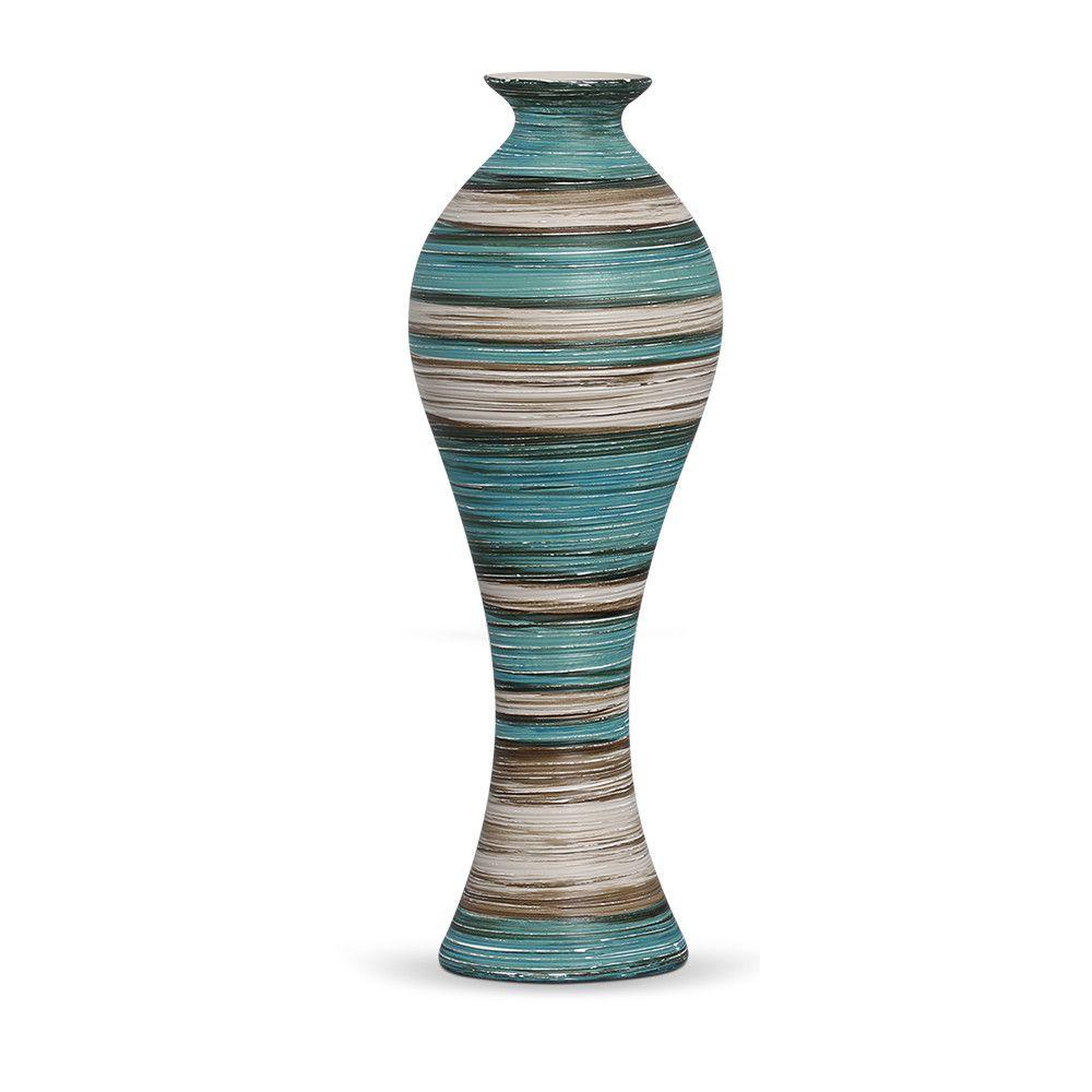 Vaso Califórnia G Decoração Em Cerâmica Azul e Bege Marrakesh