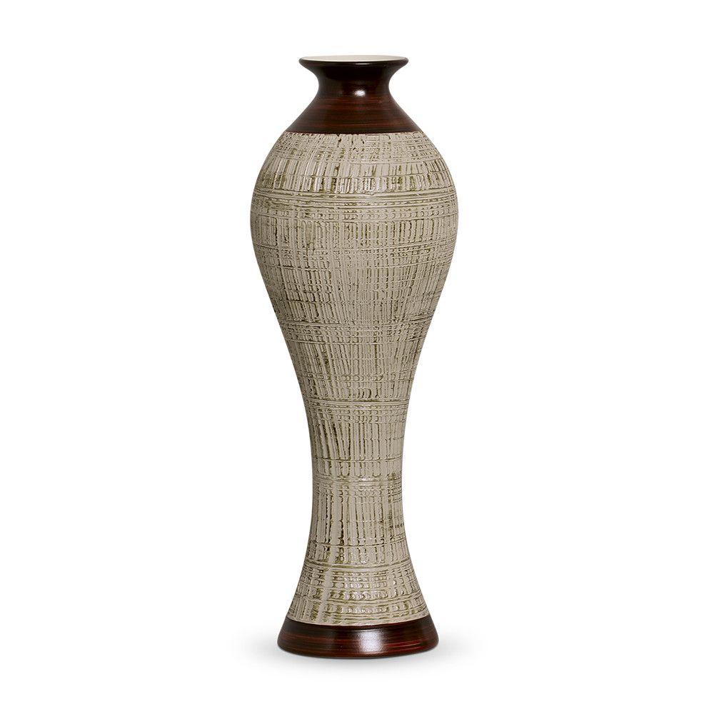 Vaso Califórnia G Decoração Em Cerâmica Marrom E Palha Ganash