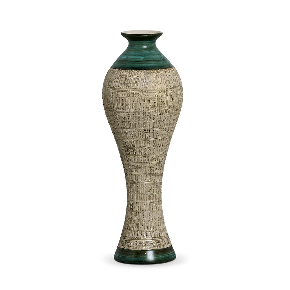 Vaso Califórnia G Decoração Em Cerâmica Verde E Bege Dubai