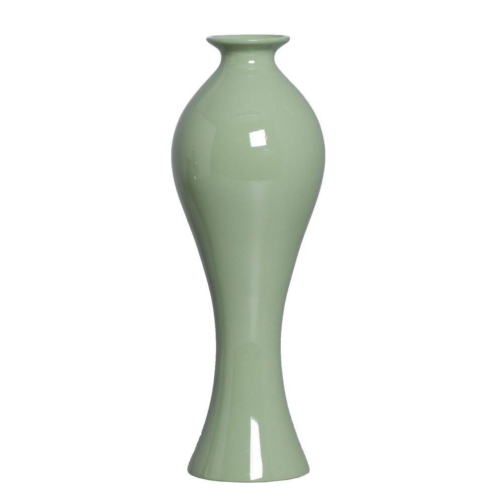 Vaso Califórnia G Decoração Em Cerâmica Verde Brilhante