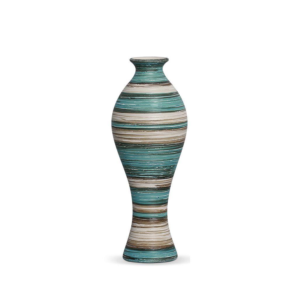 Vaso Califórnia M Decoração Em Cerâmica Azul e Palha Marrakesh