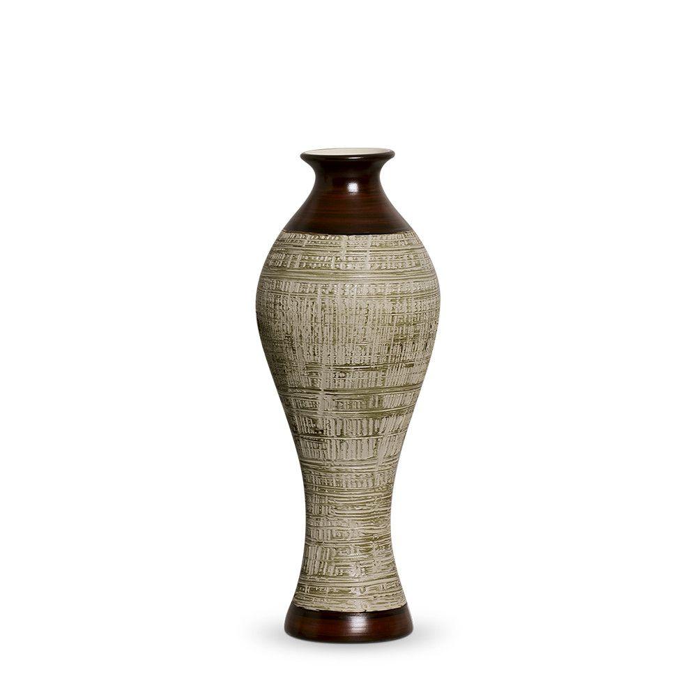 Vaso Califórnia M Decoração em Cerâmica Marrom e Palha Ganash