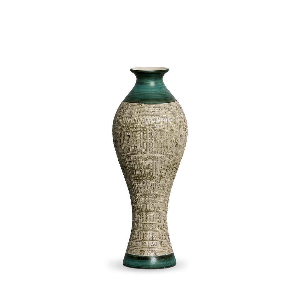 Vaso Califórnia M Decoração em Cerâmica Verde e Palha Dubai